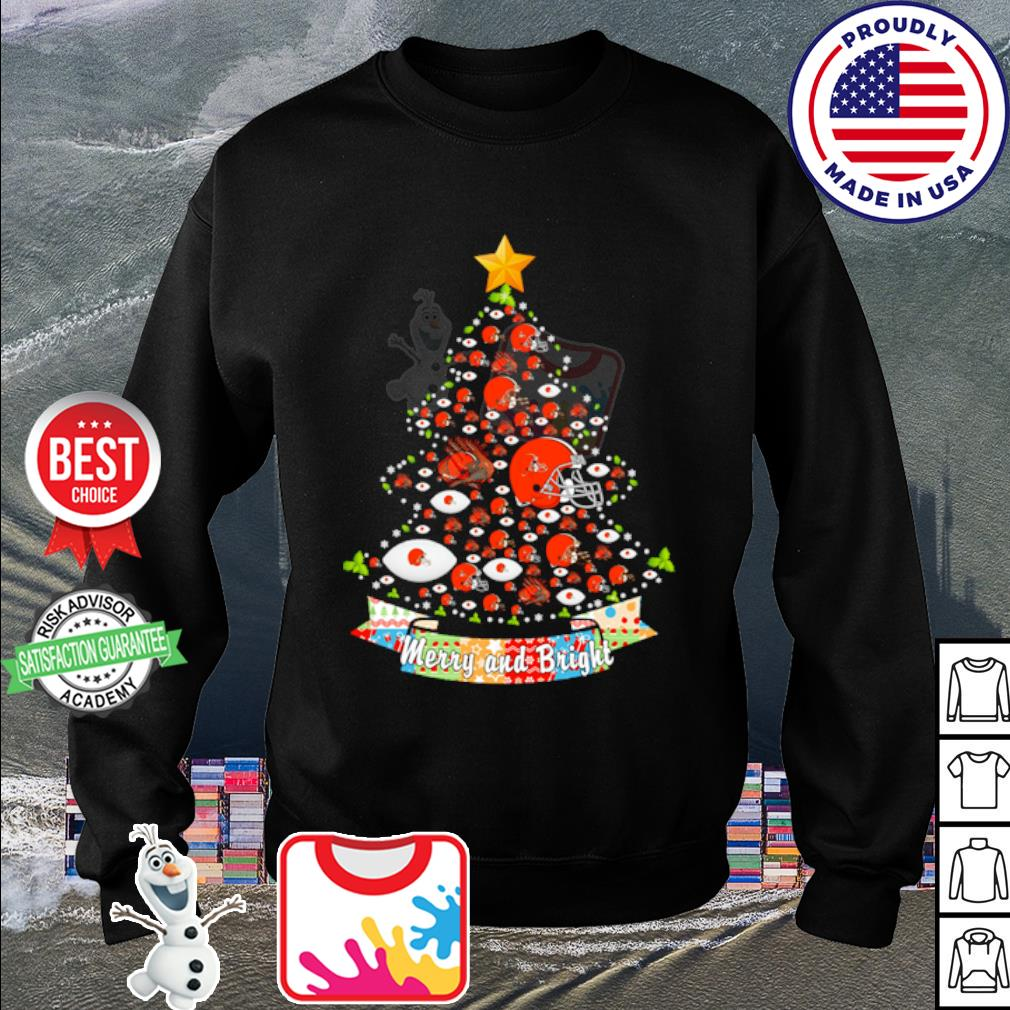 Cleveland Browns tree Merry and bright s sweater