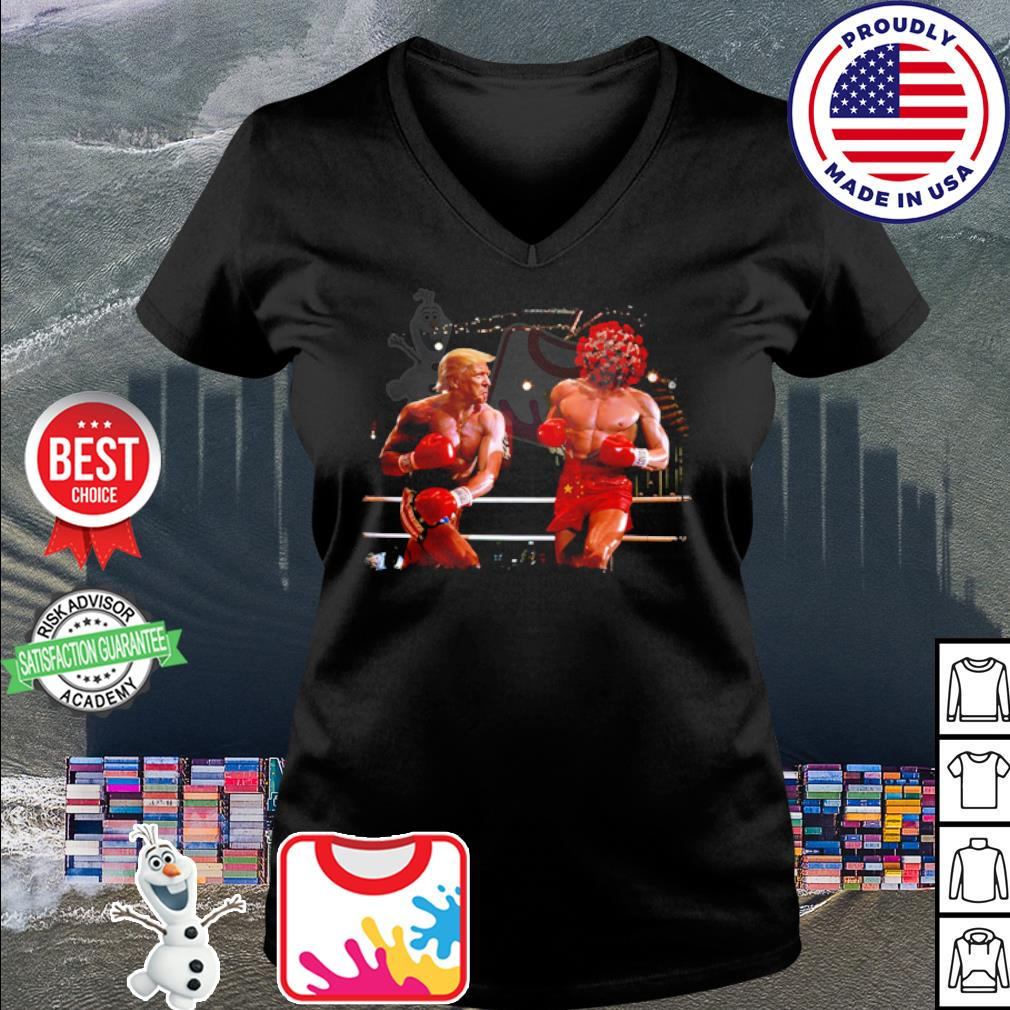 Donald Trump with Covid boxing s v-neck t-shirt