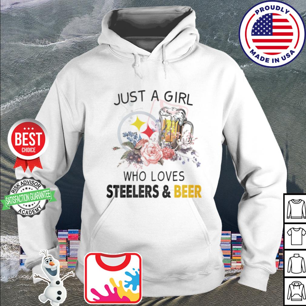 Flower just a girl who loves Steelers and beer s hoodie