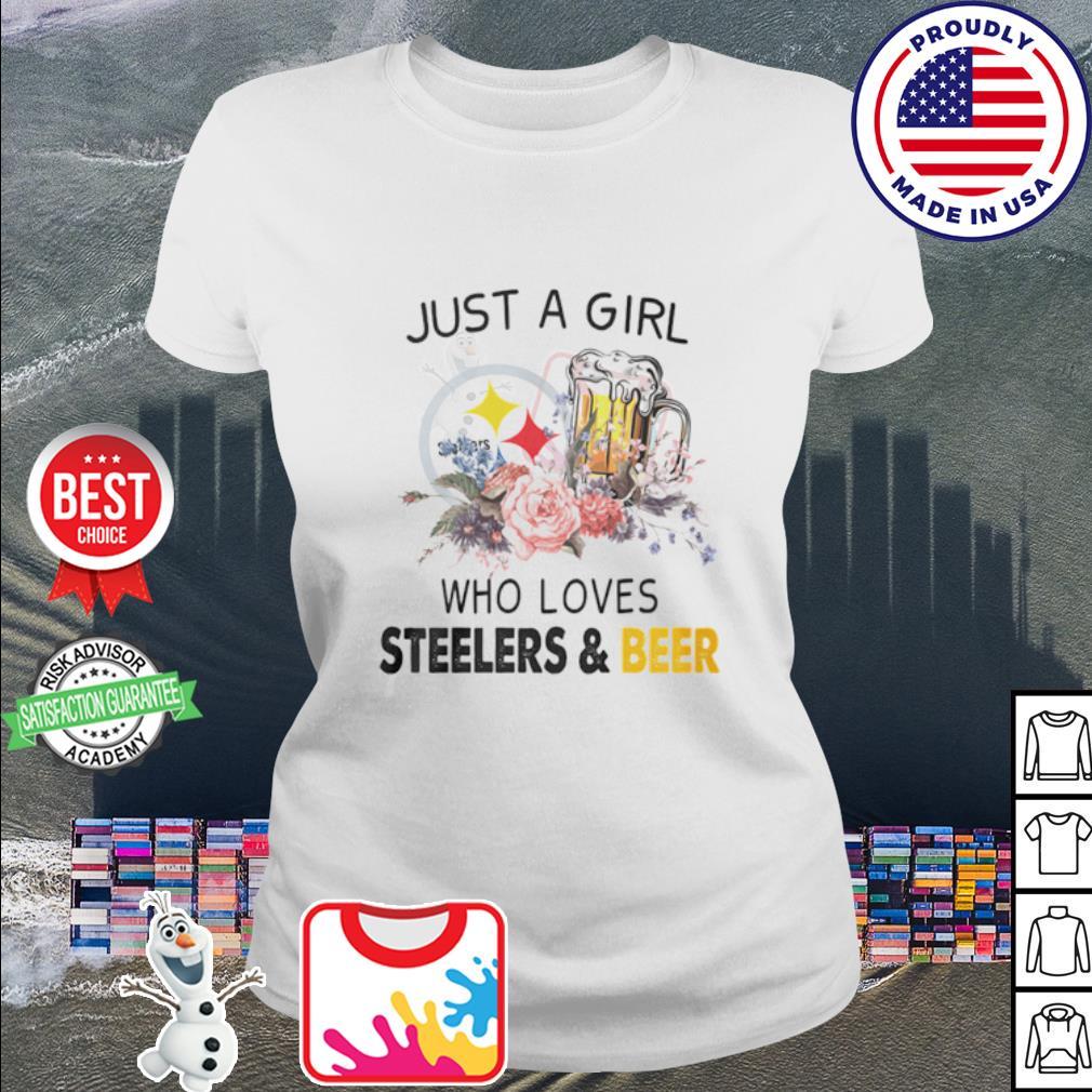 Flower just a girl who loves Steelers and beer s ladies tee