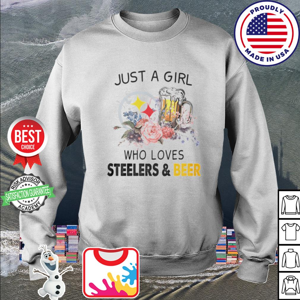 Flower just a girl who loves Steelers and beer s sweater