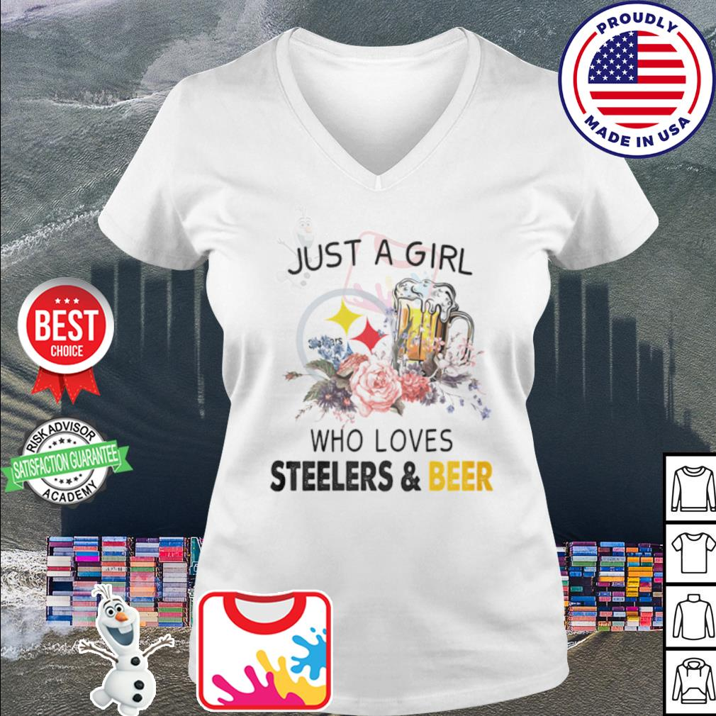 Flower just a girl who loves Steelers and beer s v-neck t-shirt