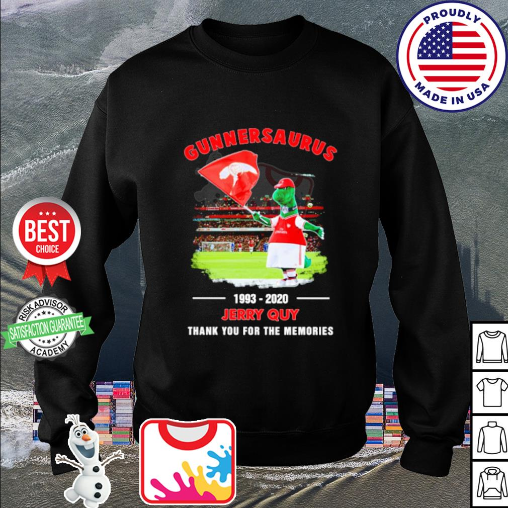 Gunnersaurus 1993 2020 Jerry Quy thank you for the memories s sweater