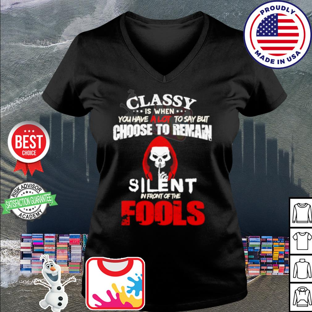 Halloween Classy is when you have a lot to say but choose to remain silent s v-neck t-shirt