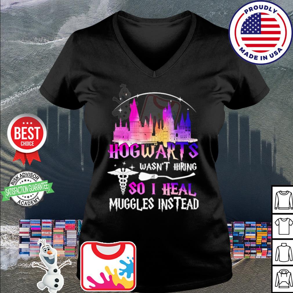 Hogwarts wasn't hiring so I heal muggles instead s v-neck t-shirt