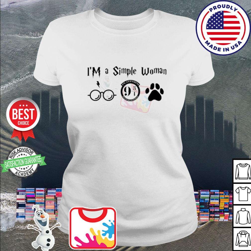 I'm a simple woman I like Harry Potter Platform Hogwarts Express and paw dog s ladies tee