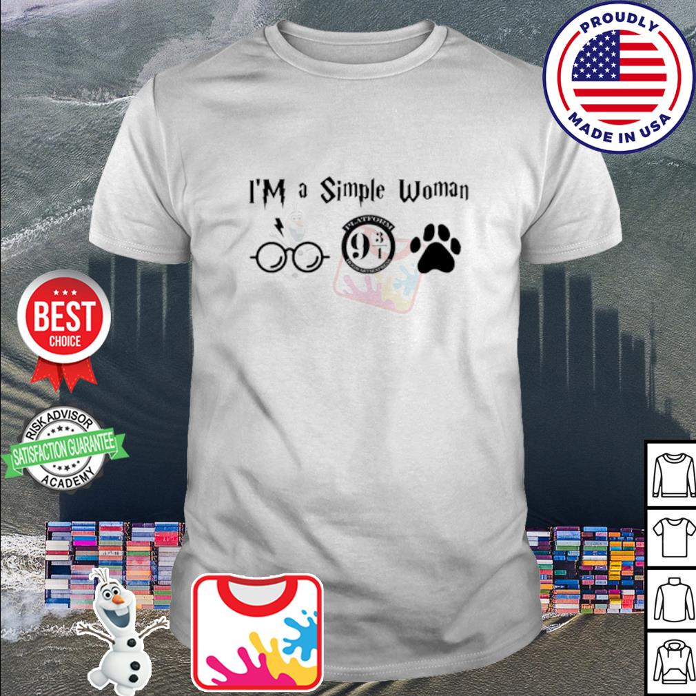 I'm a simple woman I like Harry Potter Platform Hogwarts Express and paw dog shirt