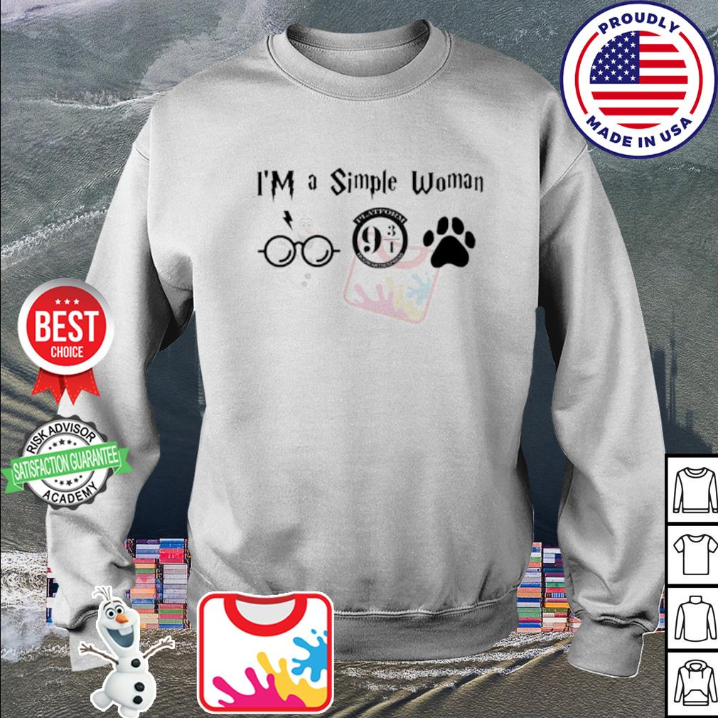 I'm a simple woman I like Harry Potter Platform Hogwarts Express and paw dog s sweater
