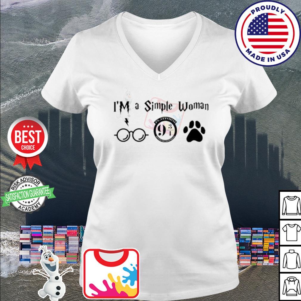 I'm a simple woman I like Harry Potter Platform Hogwarts Express and paw dog s v-neck t-shirt